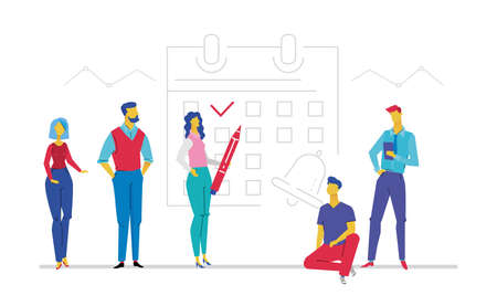 Business planning - flat design style colorful illustration