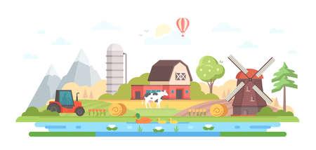 Village -modern flat design style  illustration Иллюстрация