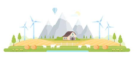 Village by the mountains modern flat design style  illustration Illustration