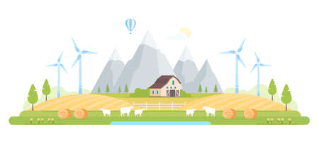 Village by the mountains modern flat design style  illustration Çizim