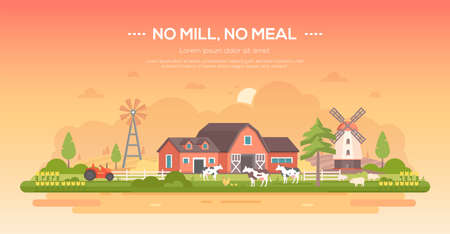 No mill, no meal modern flat design style concept illustration