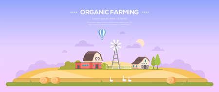 Organic farming  modern flat design style concept illustration Çizim