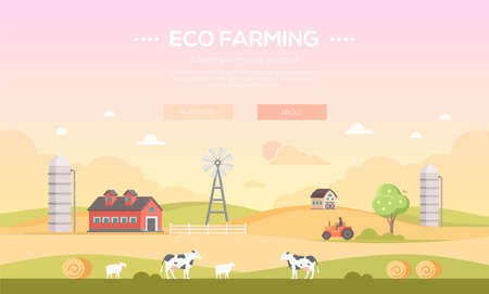 Eco farming - modern flat design style vector illustration Çizim