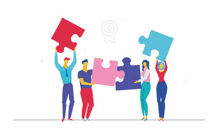 Business team doing a puzzle flat design style colorful illustration