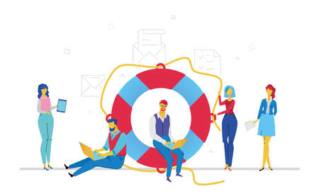 Colleagues help each other - flat design style colorful illustration