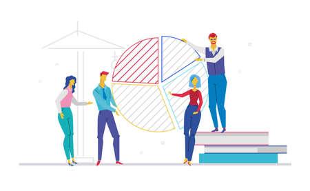 Business team working on presentation - flat design style colorful illustration