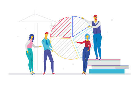 Business team working on presentation - flat design style colorful illustration
