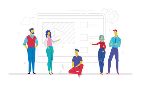 Business team presenting a website  flat design style colorful illustration