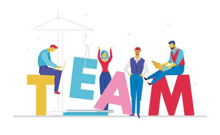 Team flat design style colorful illustration