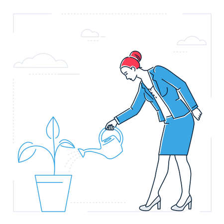 Businesswoman watering the plant - line design style isolated illustration on white background. Metaphorical image of a woman, girl, female with a pot. Startup, growing business concept