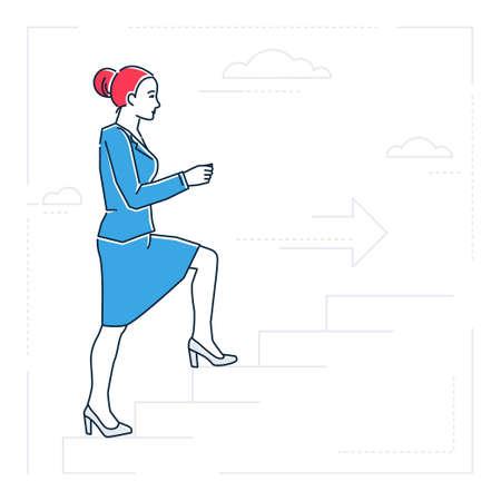 Businesswoman climbing a ladder, line design style isolated illustration. Çizim