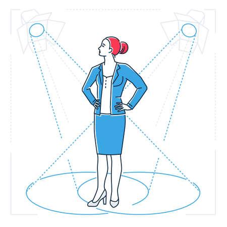 Confident businesswoman - line design style isolated illustration