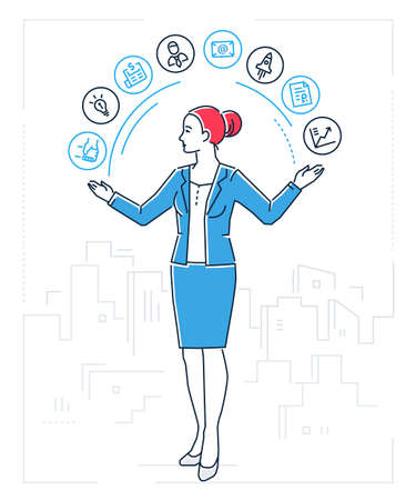 Multitasking line design style isolated illustration