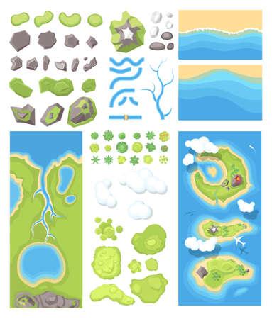 Natural landscape - modern set of illustrations