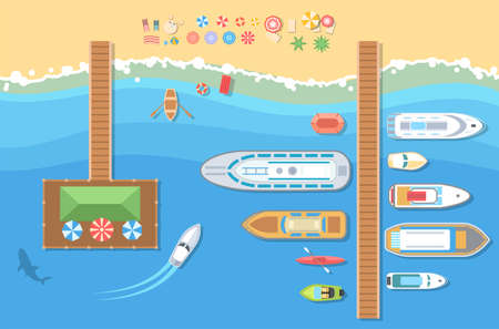 Beach top view - modern vector colorful illustration. A landscape with different types of boats, launch, pier, shark, recreation zone with umbrellas and beds Banque d'images - 98140576