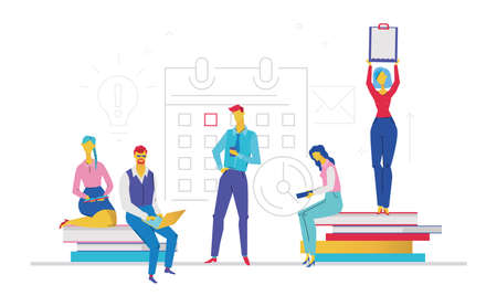 Working on a project - flat design style colorful illustration on white background. A composition with colleagues in casual clothes, each having their own task. Teamwork concept