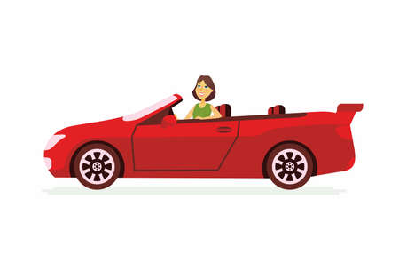 Young woman driving a car cartoon people character isolated illustration.