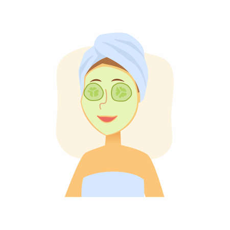 Woman using cucumber face mask - cartoon people character isolated illustration on white background. An image of a cute smiling person taking care of her skin Vettoriali