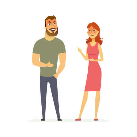 Family argument cartoon people character isolated illustration.