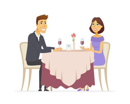 Romantisch diner cartoon mensen karakter geïsoleerde illustratie op witte achtergrond. Een afbeelding van een glimlachende man en vrouw zitten in een restaurant, café, samen wijn drinken, gelukkig. Vector Illustratie