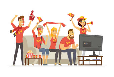 Sport fans - cartoon people character isolated illustration