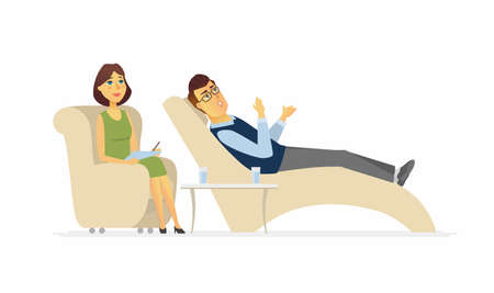 A man visiting a psychologist - cartoon people character isolated illustration Stock Illustratie