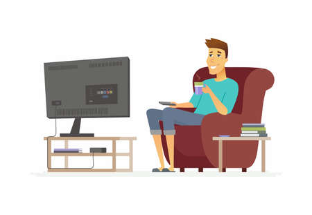 Young man watching TV - cartoon people character isolated illustration