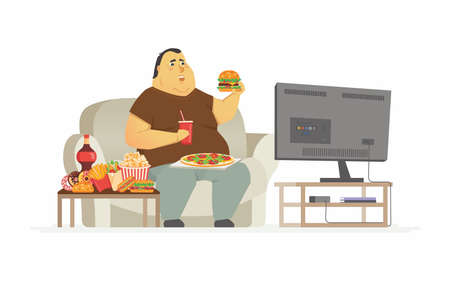 Fat man watching TV - cartoon people character isolated illustration Иллюстрация