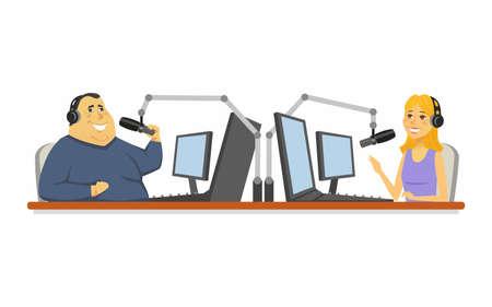 Radio presenters  cartoon people character isolated illustration