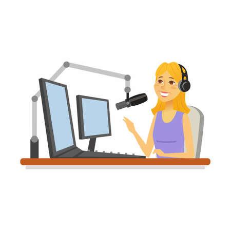Radio presenter - cartoon people character isolated illustration