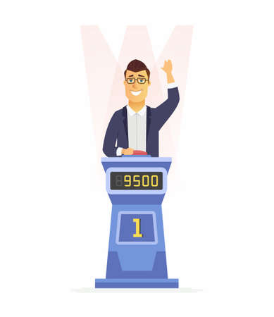 Game show player - cartoon people character isolated illustration