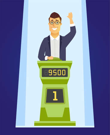 Game show player - cartoon people character illustration