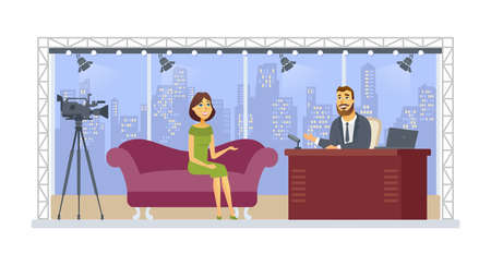 Entertainment talk show - cartoon people character isolated illustration