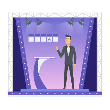 Wheel of fortune presenter  cartoon people character isolated illustration