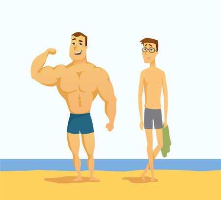 Muscular man and thin man vector illustration