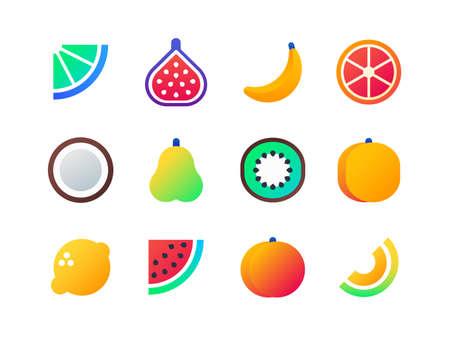 Fruits - set of flat design style icons isolated on white background. High quality images of lemon, coconut, kiwi, orange, watermelon, peach, grapefruit, pear, banana, fig, melon, lime