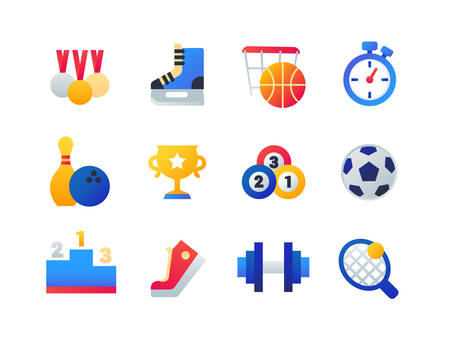 Sport - set of flat design style icons isolated on white background. Medals, skates, basketball, timer, bowling ball and pin, cup, billiard, football, podium, gumshoe, barbell and tennis racket