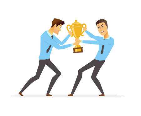 Businessmen fighting for a trophy - cartoon people character isolated illustration on white background. An image of two young workers competing for the leadership and success