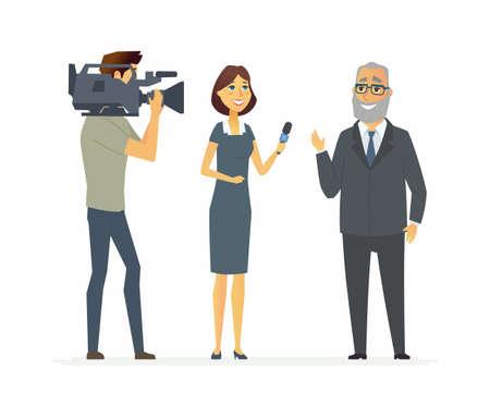 présentateur de télévision ayant une interview - personnage de dessin animé de personnes isolé illustration sur fond blanc