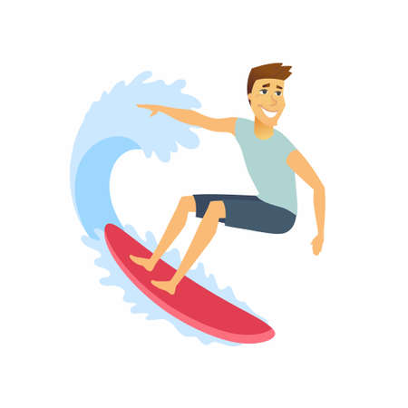 Surfer riding the wave - cartoon people character isolated illustration on white background. A happy cute young sportsman on a surfboard