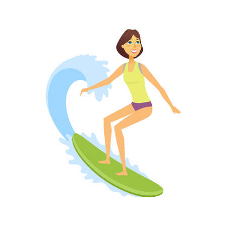 Female surfer riding the wave - cartoon people character isolated illustration