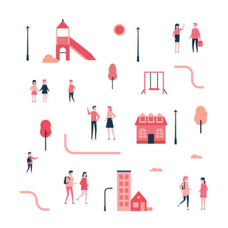 City - flat design style set of isolated elements on white background for creating your own images. A collection of cartoon characters, buildings, slide, swing, lanterns, trees, road Stock Illustratie
