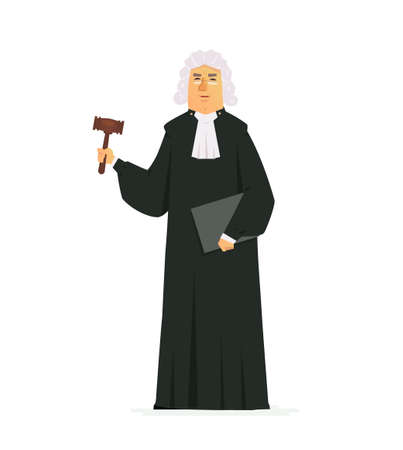 Judge - modern vector cartoon people characters illustration isolated on white background. An image of a serious man wearing a long black robe and a wig, holding a gavel and a folder