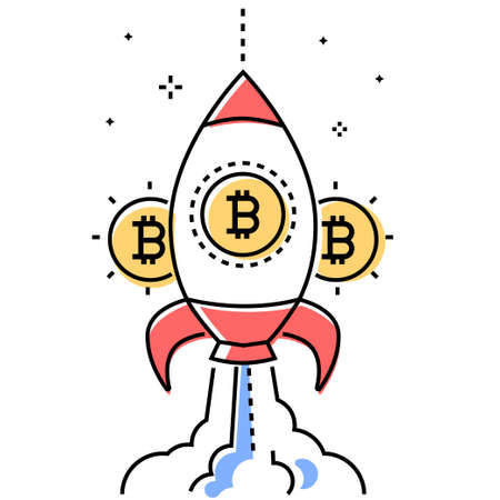 Bitcoin business - colorful line design style conceptual illustration on white background. High quality metaphorical composition with cryptocurrency symbol and a starting rocket