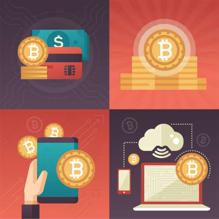 Cryptocurrency - set of colorful flat design style infographics elements. High quality metaphorical collection of four images with bitcoin symbols, smartphone, coins, bank cards, cloud computing  イラスト・ベクター素材