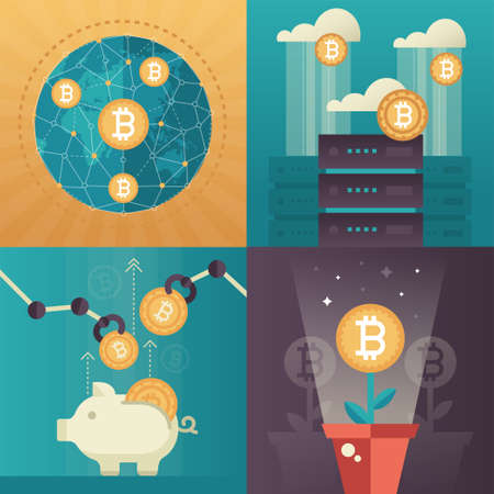 Cryptocurrency - set of colorful flat design style infographics elements. High quality metaphorical collection of four images with bitcoin symbols, piggy bank, business growth, cloud computing, globe