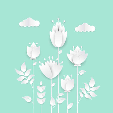 Paper cut flowers - modern vector colorful illustration on blue background. High quality greeting card, invitation template. Romantic composition with floral decoration and clouds 向量圖像