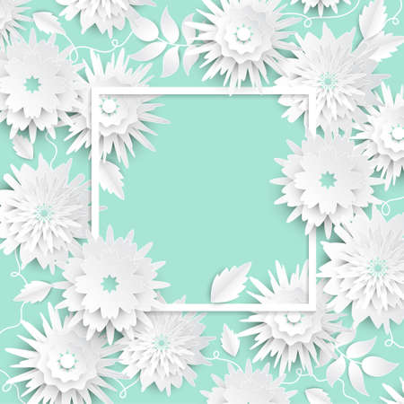 Paper cut flowers - modern vector colorful illustration on blue background with a square frame, place for your text. High quality greeting card, invitation template. Beautiful romantic composition Archivio Fotografico - 99295834