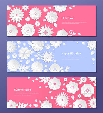 Paper cut flowers - set of modern colorful vector posters with place for your text. Romantic composition with white floral decoration. Perfect template for a holiday, birthday, summer sale