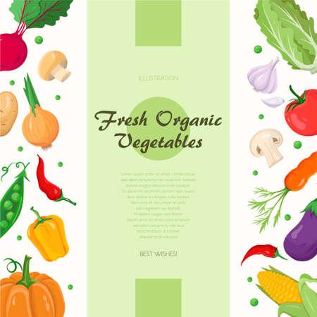 Fresh organic vegetables - modern colorful vector illustration